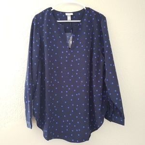 NWOT Plus Size Polka Dot Long Sleeve Popover Navy